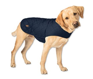 Orvis Quilted Waxed Cotton Dog Jacket Blue